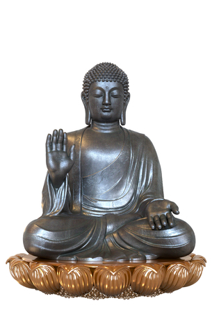 3D render of a silver colored Buddha statue in lotus pose on a white background