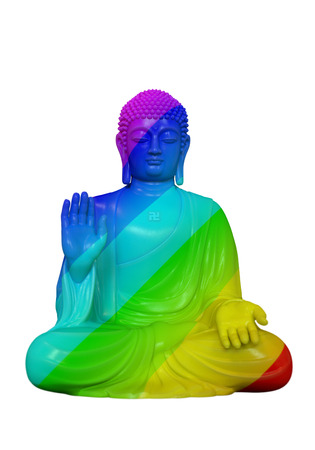 3D render of a rainbow colored Buddha statue in lotus pose on a white background Zdjęcie Seryjne