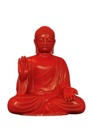 3D render of a red Buddha statue in lotus pose on a white background