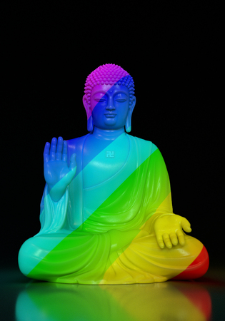3D render of a rainbow colored Buddha statue in lotus pose on a black background