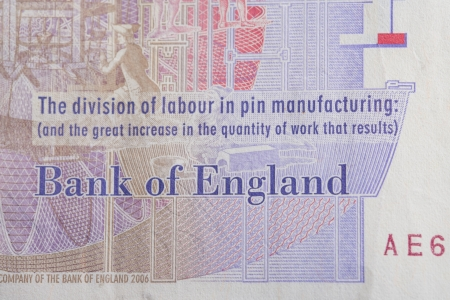A close up of the Bank of England text on a twenty pound note. Stock Photo