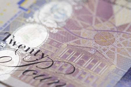 A close up of a twenty pound note.