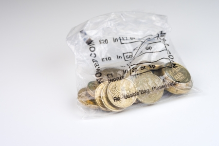 A money bag of twenty pound coins photo
