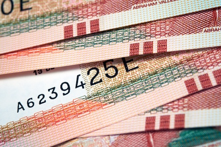 dinero falso: Notas de papel del Perú, Nuevos Soles moneda de Perú Foto de archivo