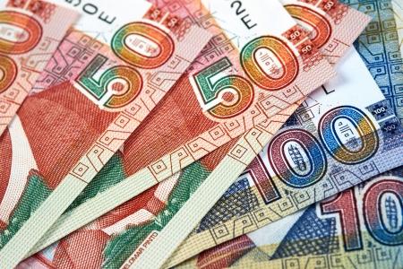 dinero falso: Notas de papel del Per�, Nuevos Soles moneda de Per� Foto de archivo