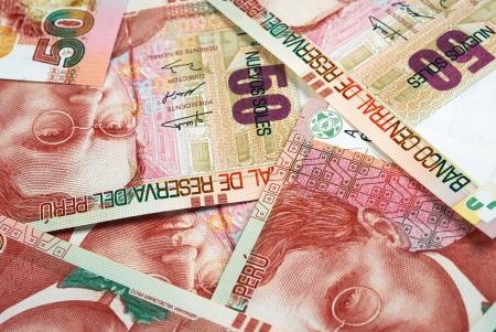 Peruanischen Notizen auf Papier, Nuevos Soles Währung von Peru