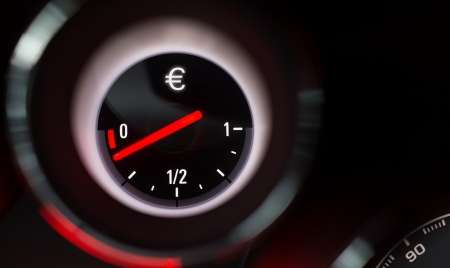 Euro sign fuel gauge nearing empty  photo