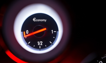 unleaded: Economy fuel gauge at empty
