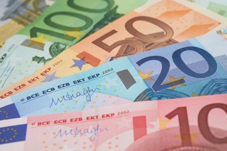 Notas do Banco Europeu, Euro moeda da Europa, euros Banco de Imagens