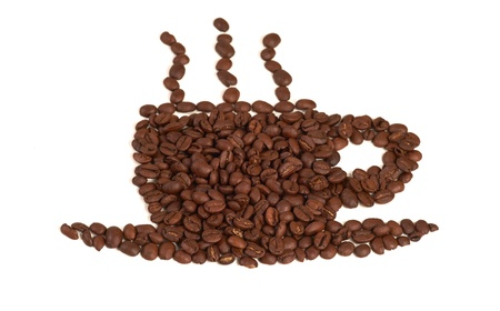 Cup Made of Coffee Beans. Stock Photo