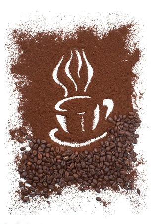 Coffee Cup Made From Coffee Beans Background  Stock Photo