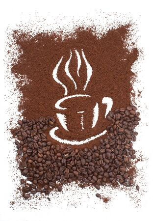 expresso: Coffee Cup Made From Coffee Beans Background  Stock Photo