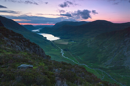 Dusk over Lake Buttermere in the English Lake District Stock Photo - 22381895