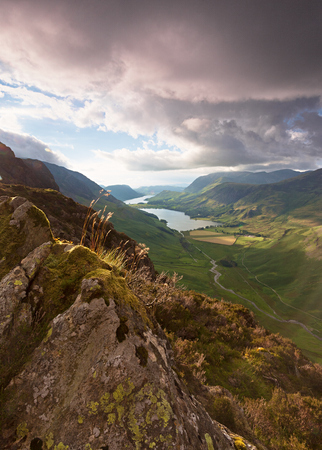 Sunset over Lake Buttermere in the English Lake District  photo