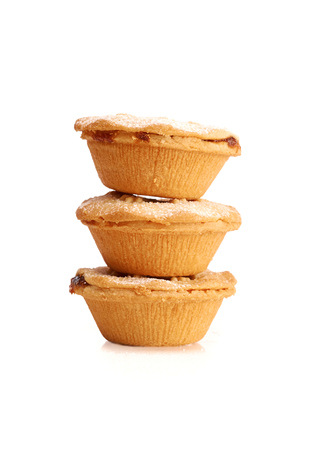 mince pie: Sweet Christmas mince pies on a white background.
