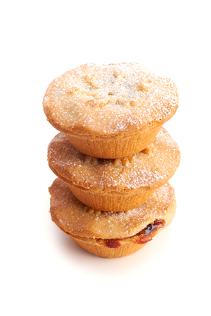 Sweet Christmas mince pies on a white background. photo