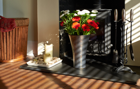 fire surround: Sunshine illuminating flowers on a slate hearth in a living room Stock Photo