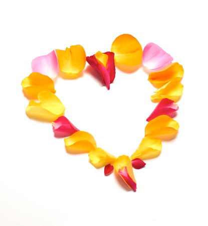 A shape of a heart made of mixed rose petals on a white background. photo