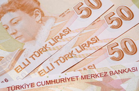 turk: Turkish Currency, A close up of a pile of 50 Lira Notes