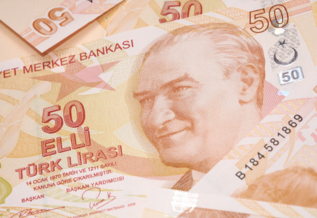 tl: Turkish Currency, A close up of a pile of 50 Lira Notes