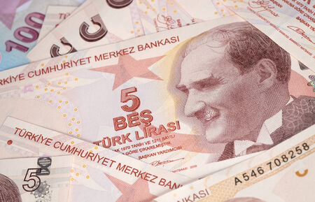 tl: Turkish Currency, A close up of a pile of 5 Lira Notes