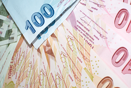 tl: Turkish Currency, a close up of mixed Lira Notes