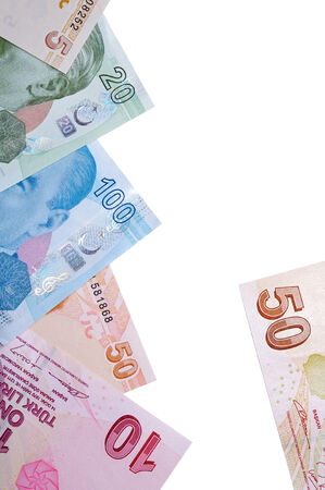 A mixture of Turkish Lira Currency, on a white background  photo
