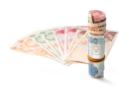 A roll of Turkish Lira Currency, on a white background  photo