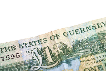 guernsey: A one pound note from the Guernsey of Jersey on a white background