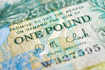 A one pound note from the Island of Jersey on a white background  photo