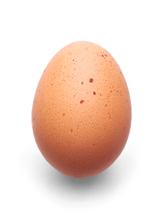 A fresh hens egg with speckles on a white background  photo