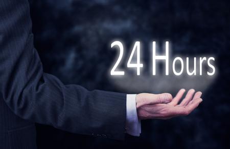 24 hour: 24 hour Business service concept.