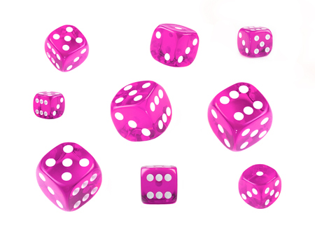 A collection of pink dice at different angles isolated on a white background.