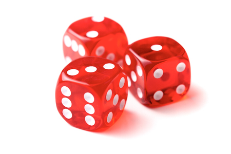 Transparent dice on a white background. Stock Photo