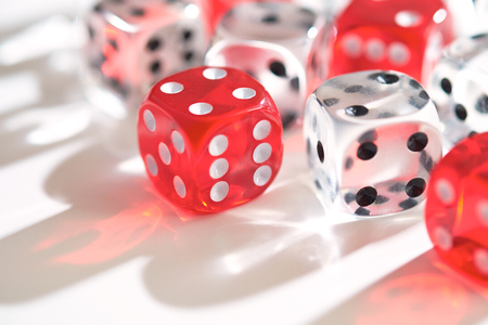 Transparent dice on a white background. photo