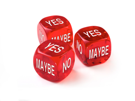 maybe: Yes, No, Maybe concept with three red dice on a white background.