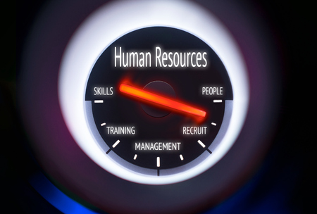 Human Resources concept displayed on a gauge