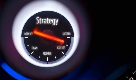execution: Strategy concept displayed on a gauge Stock Photo