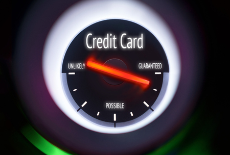 authorise: Credit Card Approval concept displayed on a gauge Stock Photo