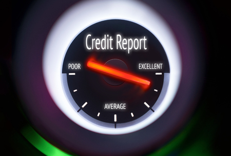 Excellent Credit Report concept displayed on a gauge photo