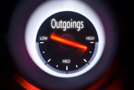 outgoings: High Outgoings concept displayed on a gauge