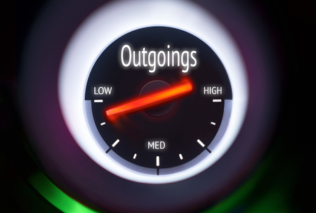 outgoings: Low Outgoings concept displayed on a gauge