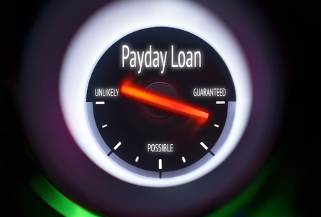 authorise: Payday Loan concept displayed on a gauge Stock Photo