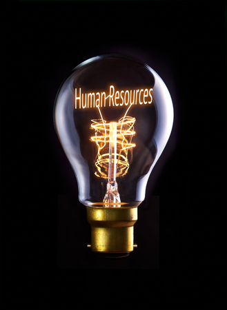 Human Resources concept in a filament lightbulb. photo