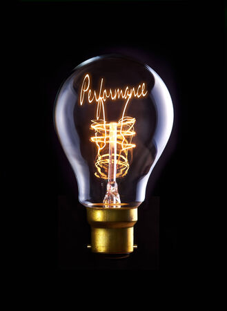 competitive business: Performance concept in a filament lightbulb.