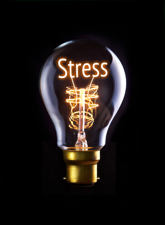 Stress concept in a filament lightbulb. photo