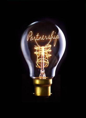 Partnership concept in a filament lightbulb.