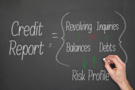 Rapport van het Krediet Het concept formule op een krijtbord