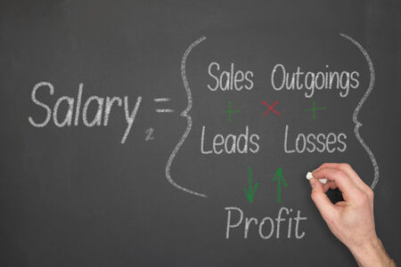 outgoings: Salary concept formula on a chalkboard