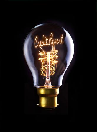 credit report: Credit Report concept in a filament lightbulb.
